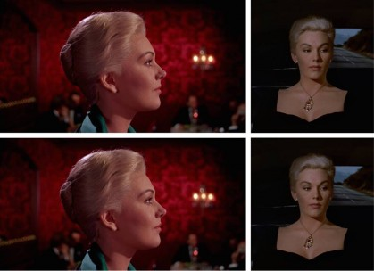 Clockwise from top: Judy-as-Madeleine in Alfred Hitchcock's Vertigo (1958); Judy-as-Madeleine in Alfred Hitchcock's Vertigo (1958); Judy in Jalal Toufic's Vertiginous Variations on Vertigo (2016); Madeleine in Jalal Toufic's Vertiginous Variations on Vertigo (2016).